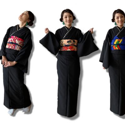 着物コーデ、名古屋帯で七変化